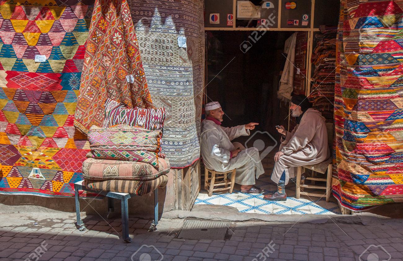 Marrakech Maroc Avril 09 2013 Boutique Tapis A Marrakech