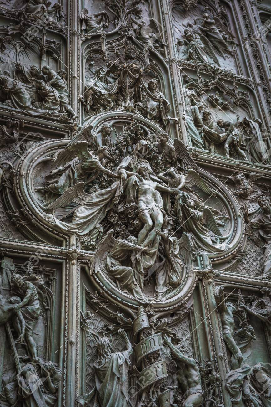 Famous bronze doors of Milan Cathedral Italy Stock Photo - 60573284 & Famous Bronze Doors Of Milan Cathedral Italy Stock Photo Picture ... Pezcame.Com