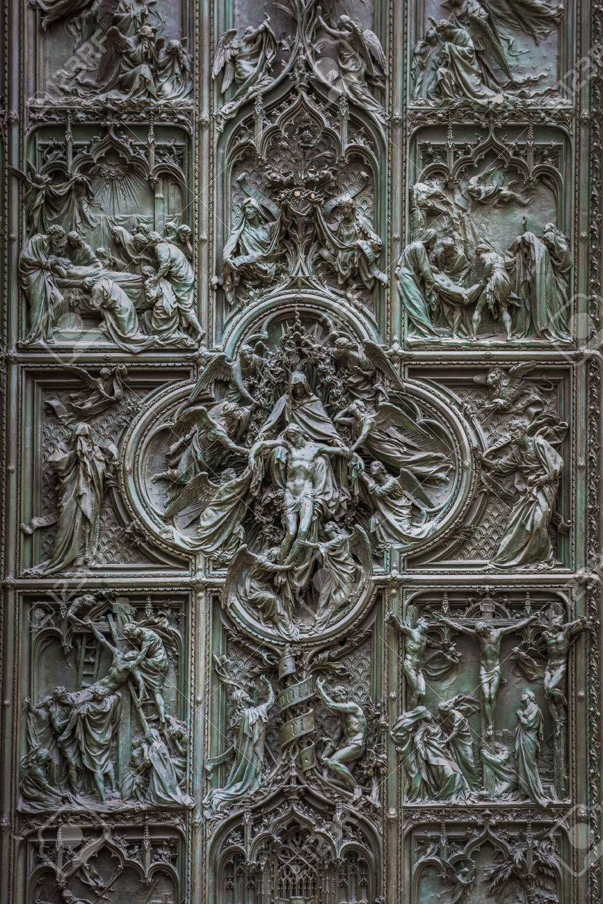 Famous bronze doors of Milan Cathedral Italy Stock Photo - 63109533 & Famous Bronze Doors Of Milan Cathedral Italy Stock Photo Picture ... Pezcame.Com