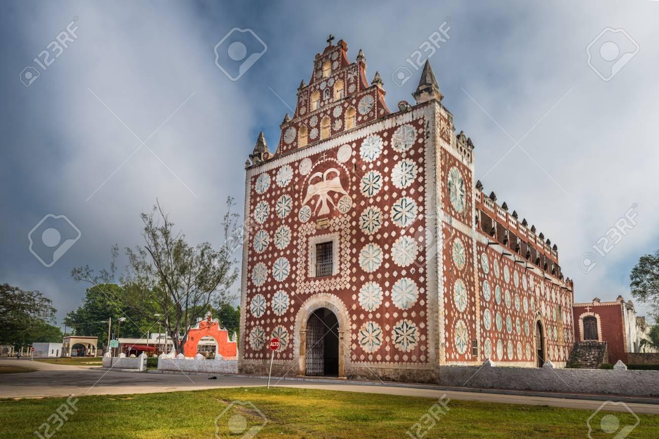 Uayma Church Unique Colonial Architecture In Yucatan Mexico Stock Photo