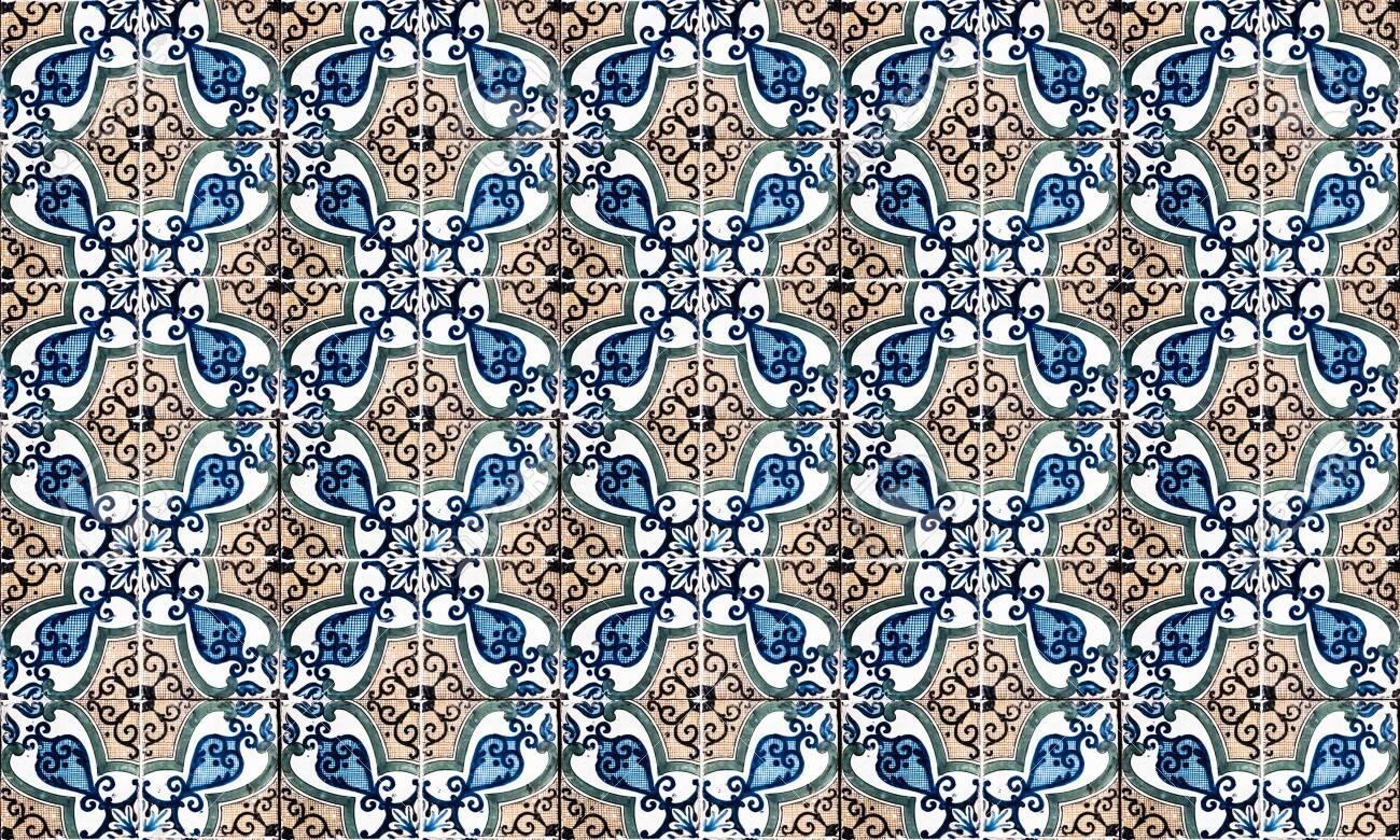 Background of vintage ceramic tiles - 129032224