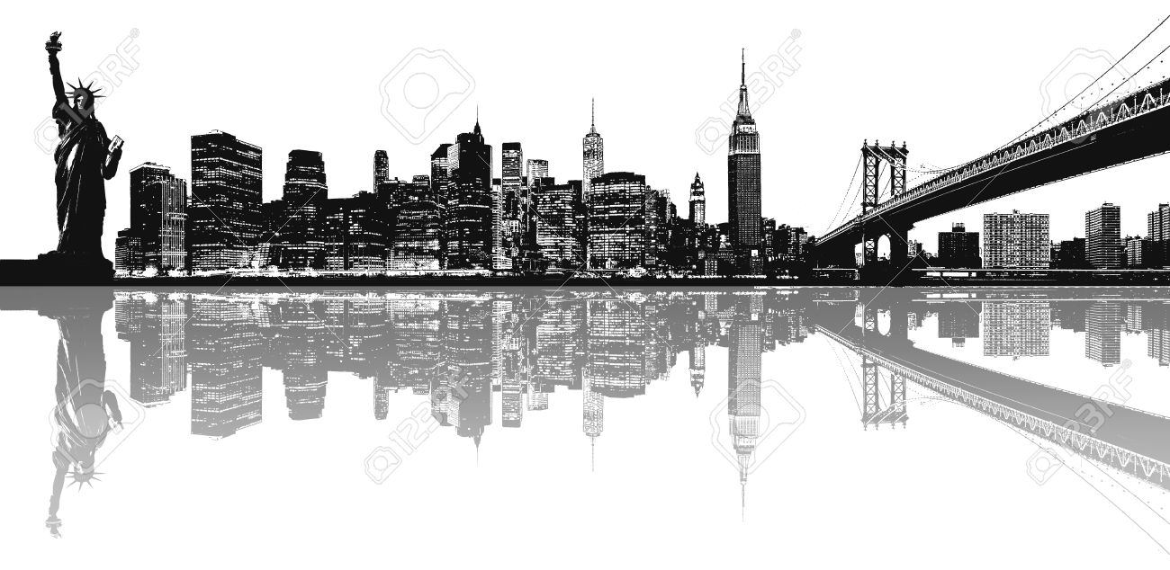 silhouette of new york skyline stock photo picture and royalty