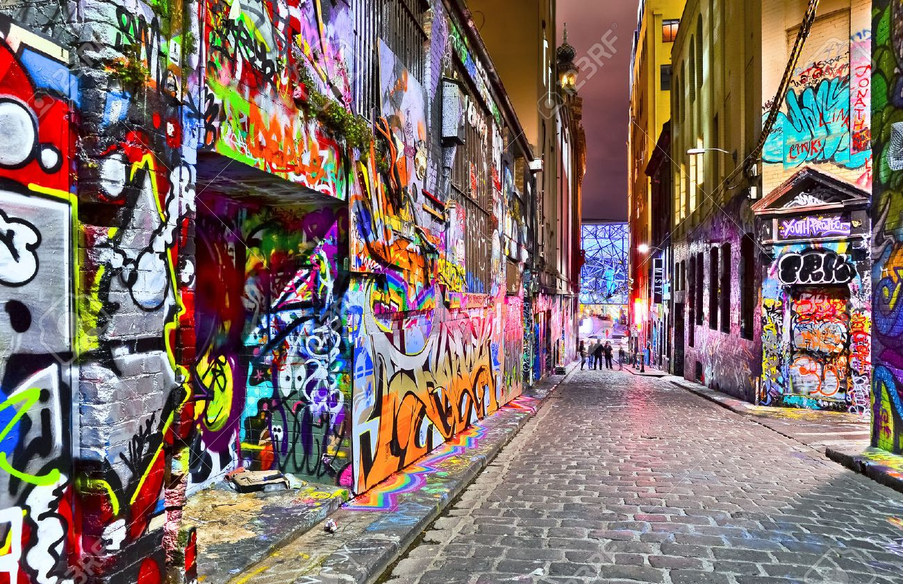 Night View Of Colorful Graffiti Artwork At Hosier Lane In Melbourne Stock Photo