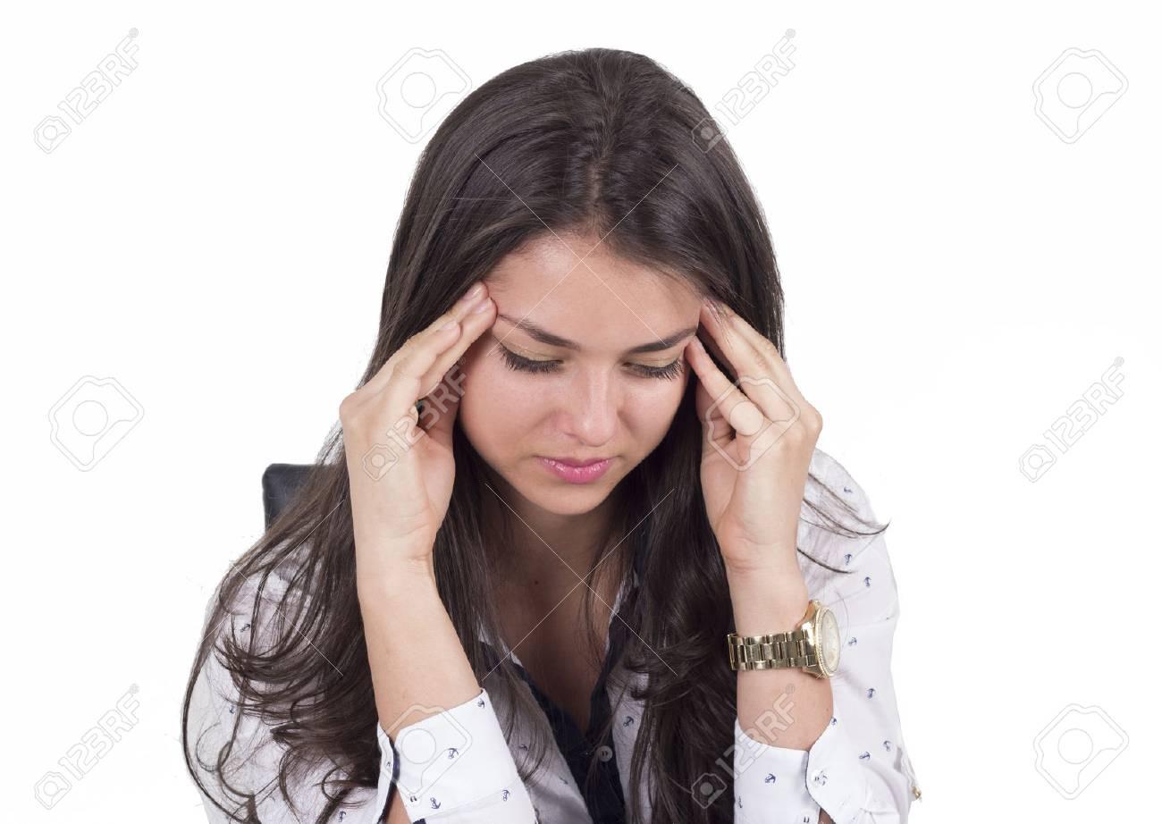 Female with a headache - 67362330