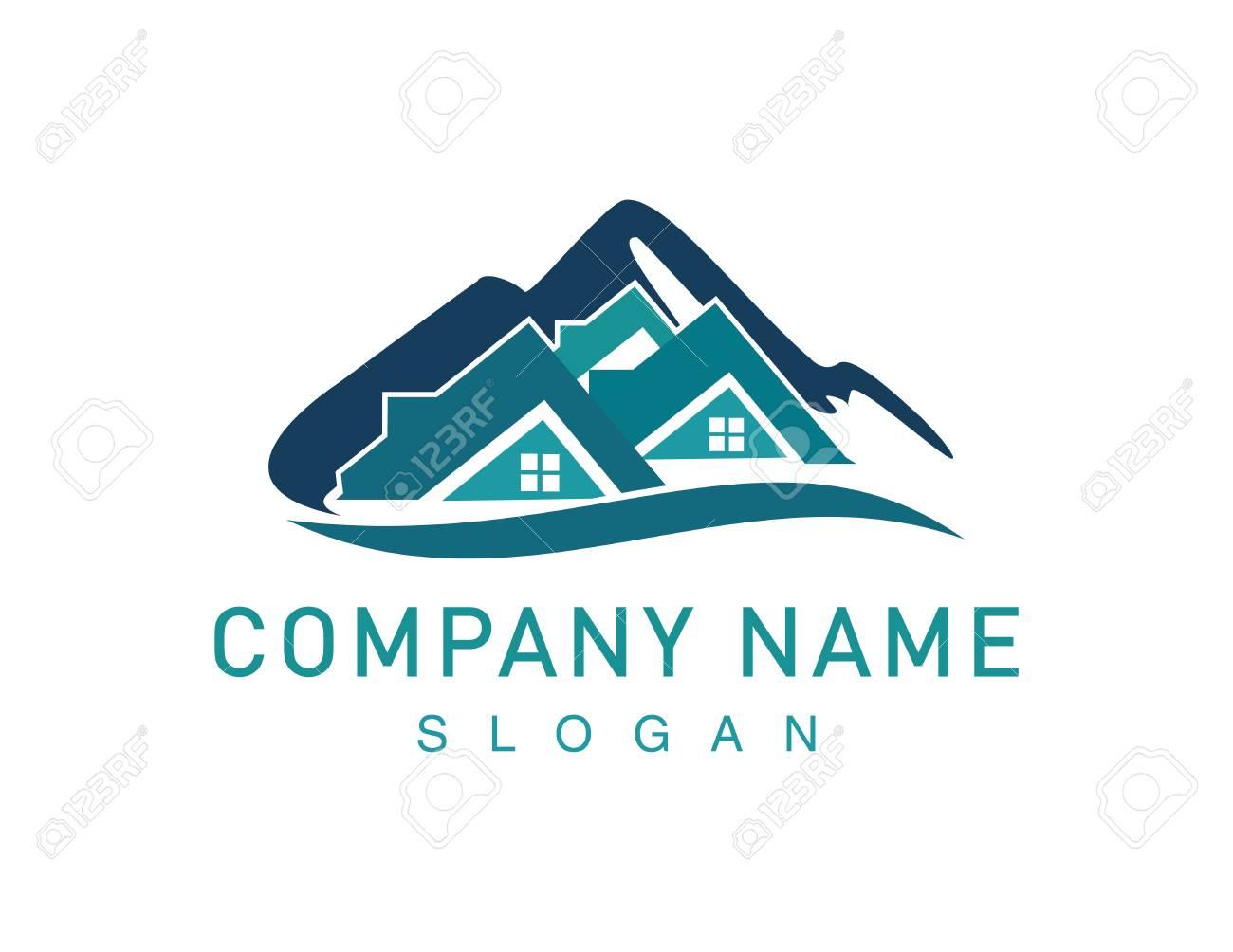 Mountains real estate symbol illustration. - 92952773
