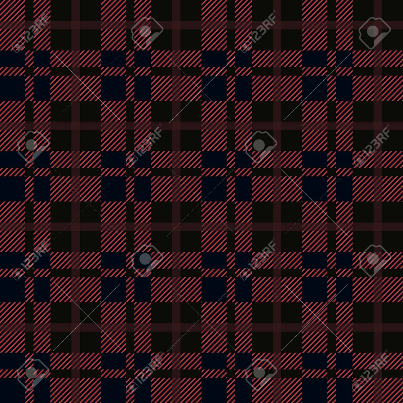 Seamless Red And Black Buffalo Plaid Pattern Checkered Fabric