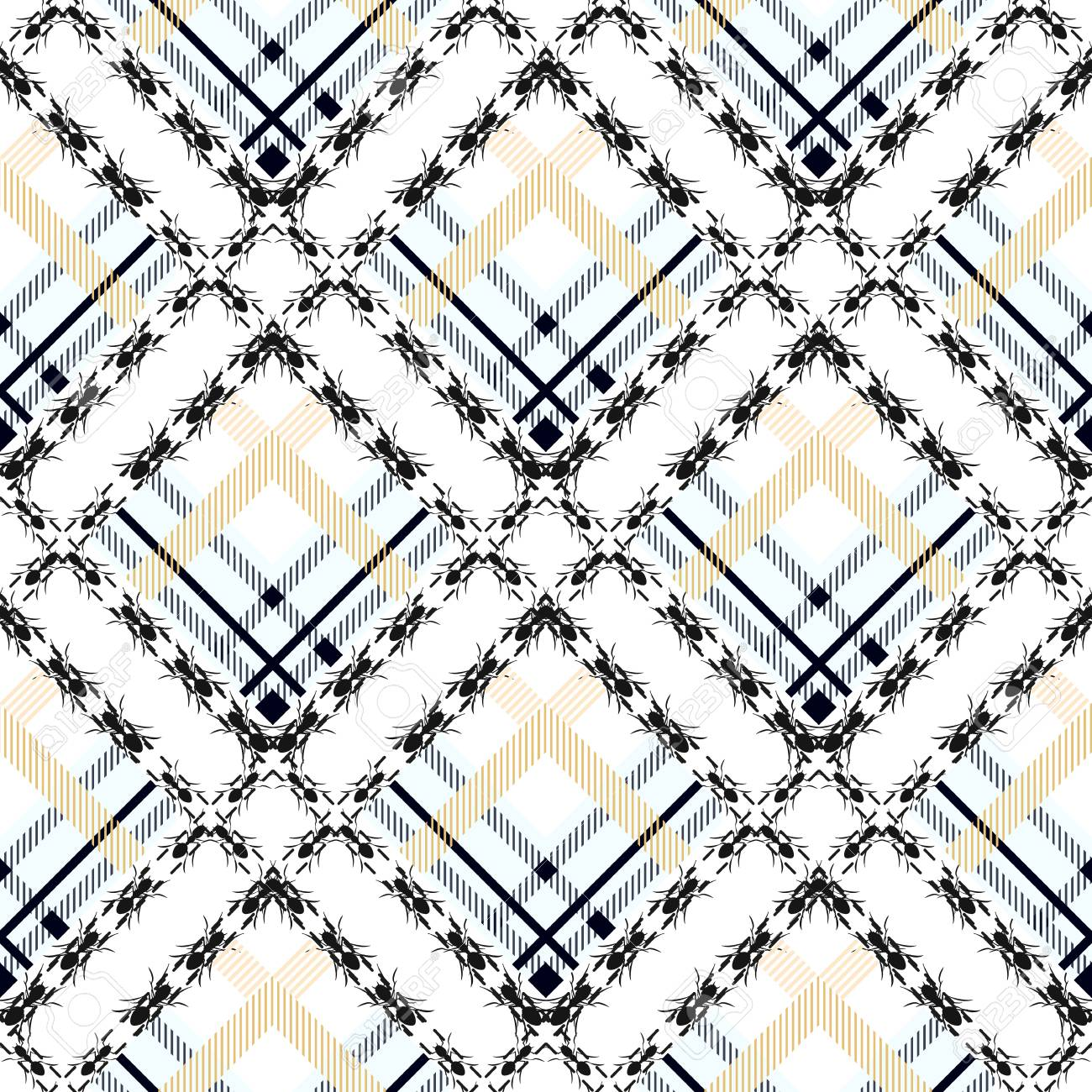 Black And White Fabric Texture Check Tartan With Ant Seamless