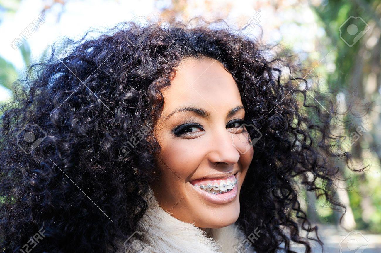 Happy black girl with braces Stock Photo - 16653652