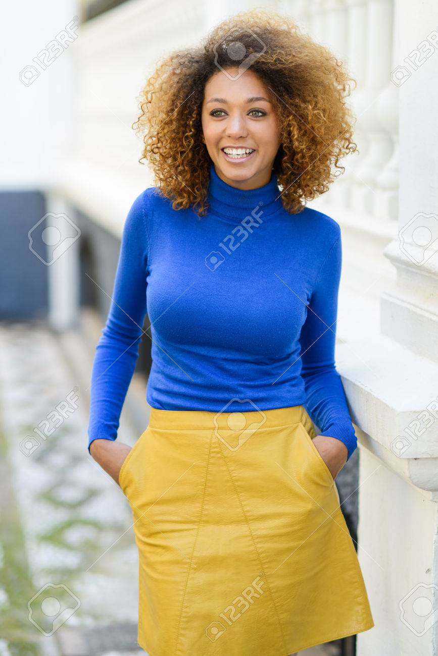 Beautiful Young African American Woman Model Of Fashion Smiling
