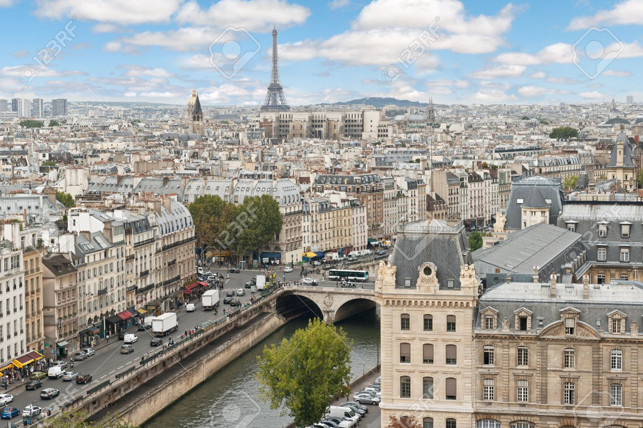 Panoramic view of Paris from the Notre Dame Cathedral in Paris, France Stock Photo - 13621238