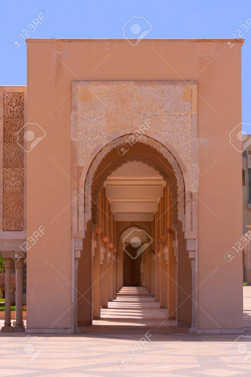 Arab arches in the Hassan II Mosque in Casablanca, Morocco Stock Photo - 13710471