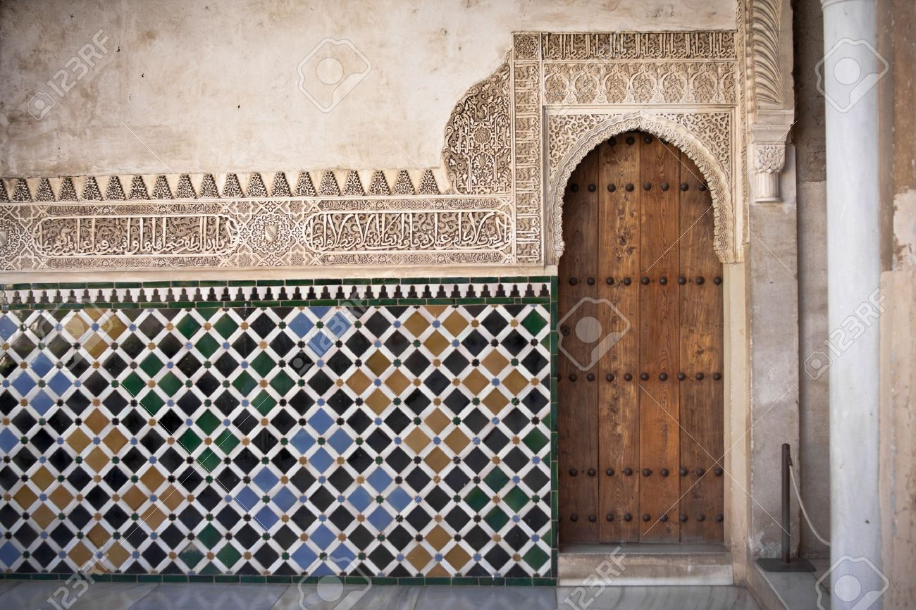 arab door in the alhambra in grandda spain stock photo picture and