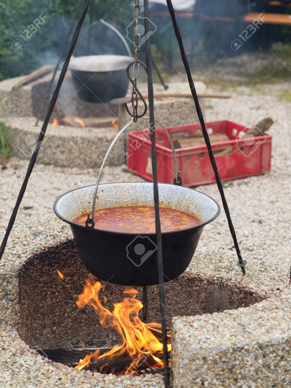 Hungarian Goulash Cooked In A Stew Pot On An Open Fire Stock Photo Picture And Royalty Free Image Image 55285389