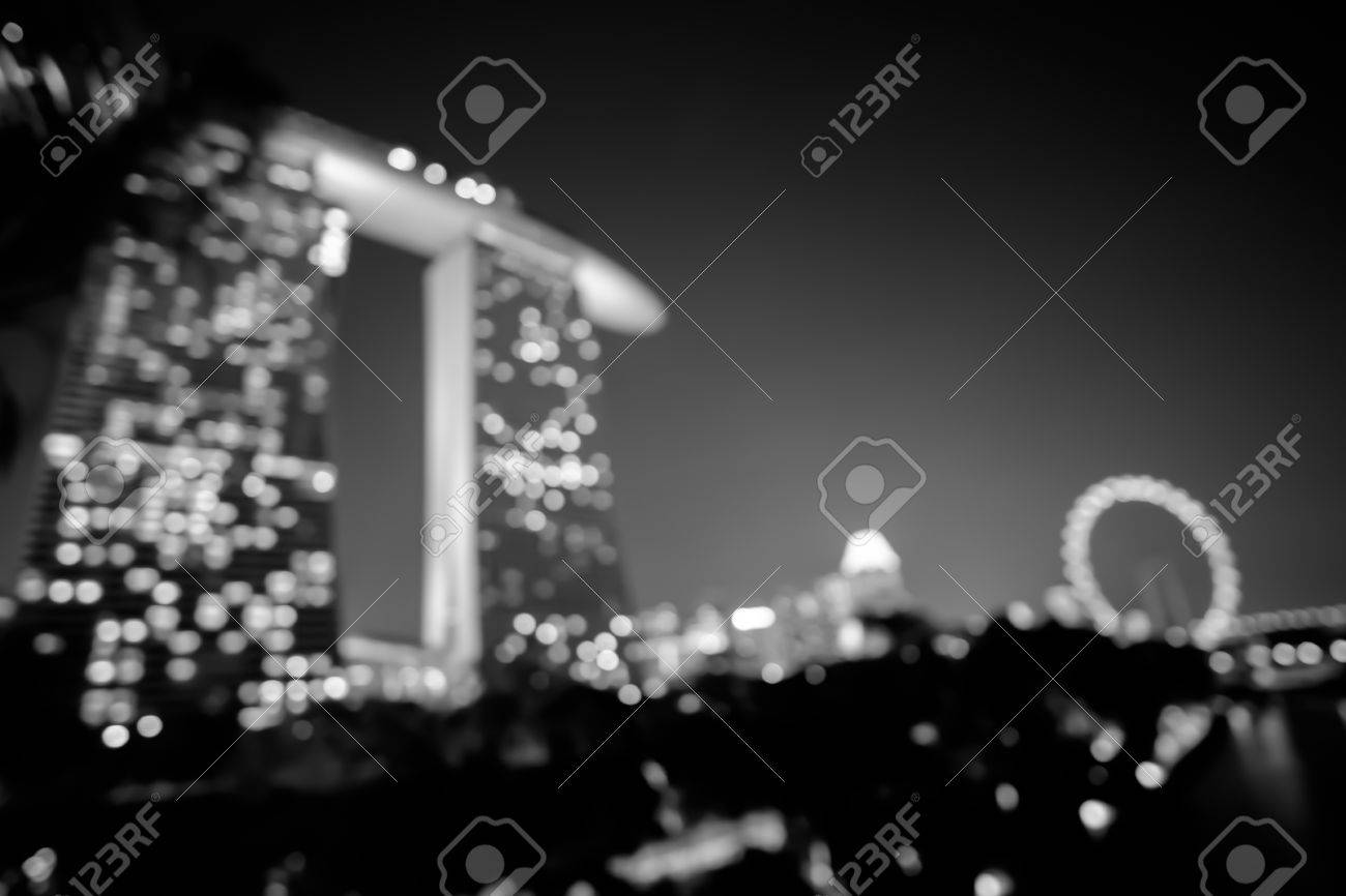 Città Luci Di Notte Bokeh Di Singapore Sfondo Sfocato In Bianco E Nero