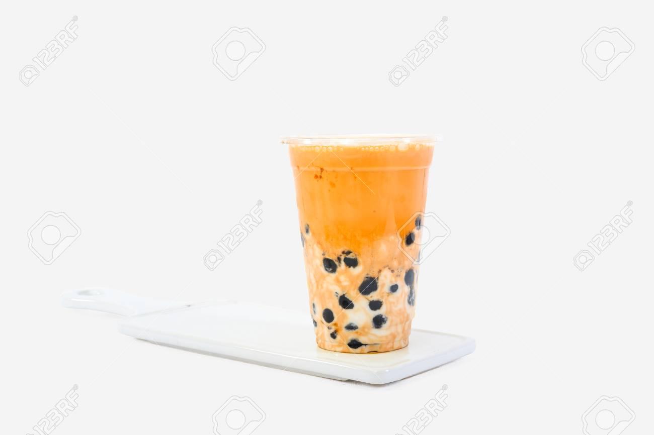 Iced milk tea with bubble - 99043673
