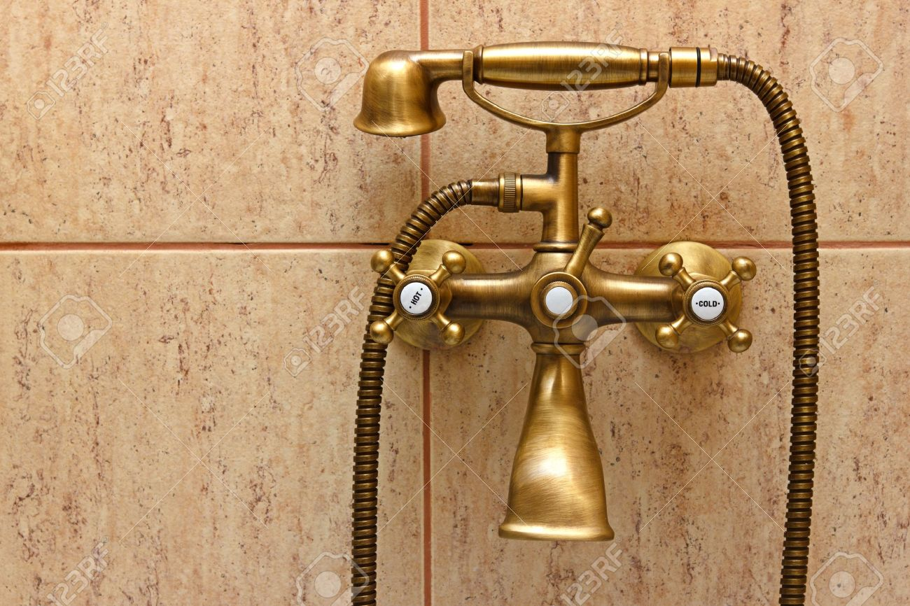 Vintage Bathtub Faucet And Ceramic Tiles In Background Retro Stock Photo Picture And Royalty Free Image Image 13538368