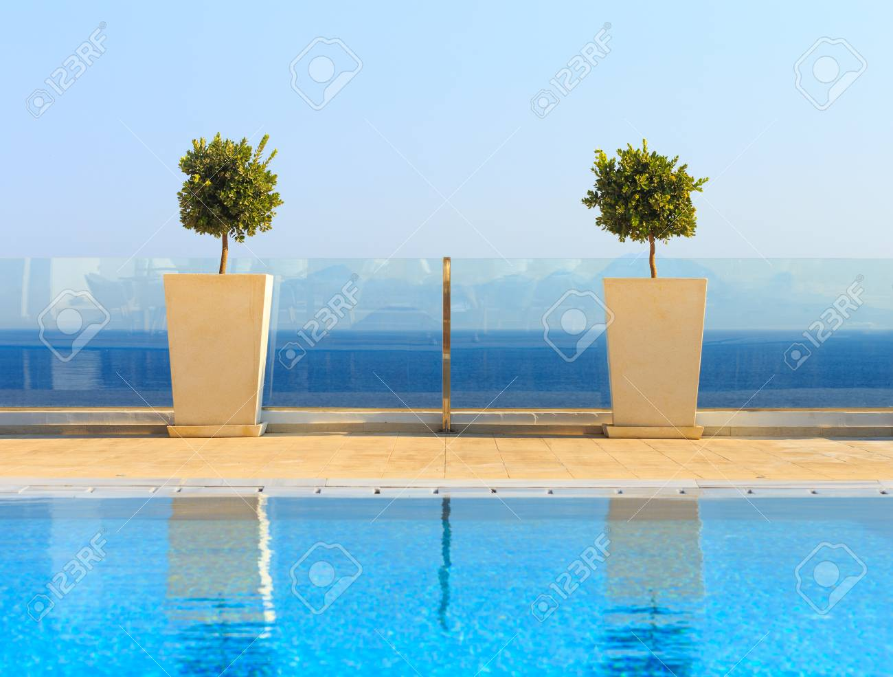 Beautiful sea view from clean swimming pool with plant decorations...
