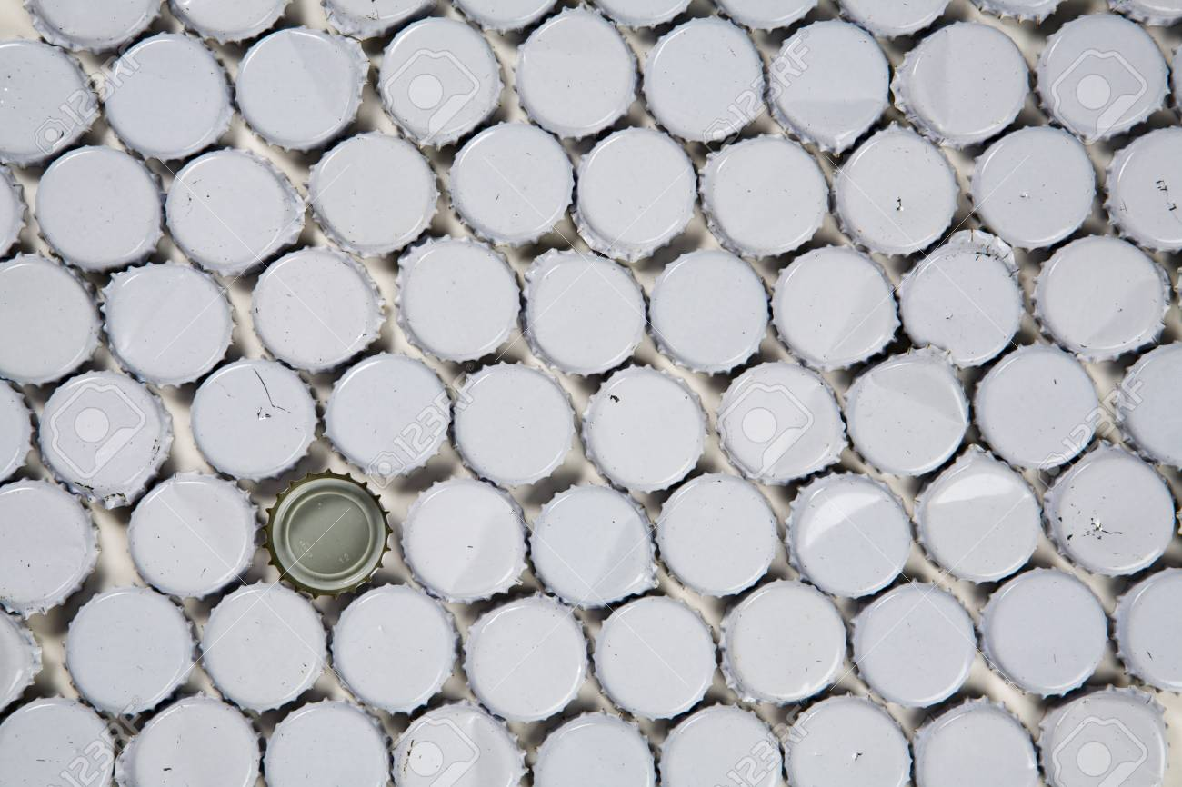 stock back ground image of metal bottle tops