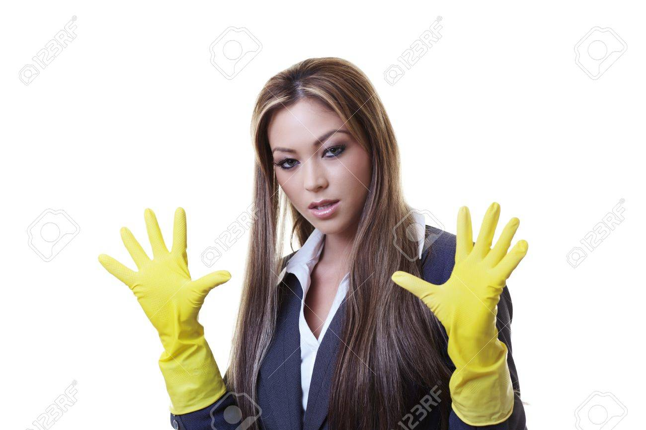 wearing rubber cleaning Women gloves