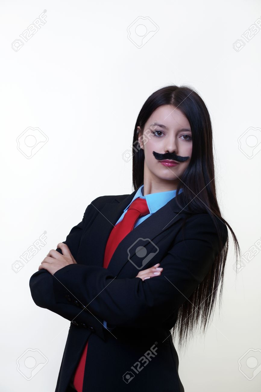 Portrait Of A Young Woman Dressed Up In A Man S Suit And Tie Stock