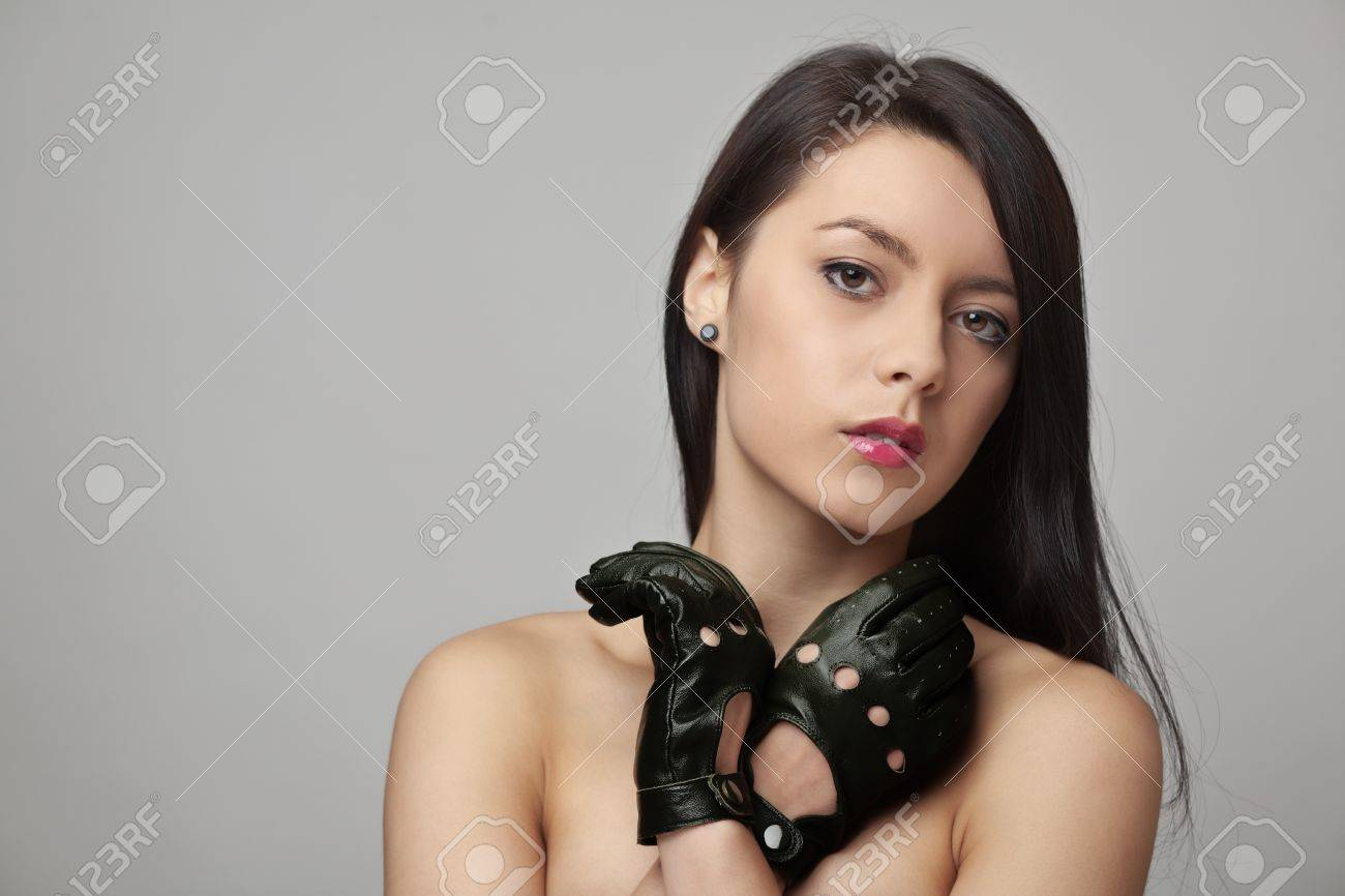 Driving gloves girl - Stock Photo Beauty Headshot Of Sexy Woman Wearing Leather Driving Gloves