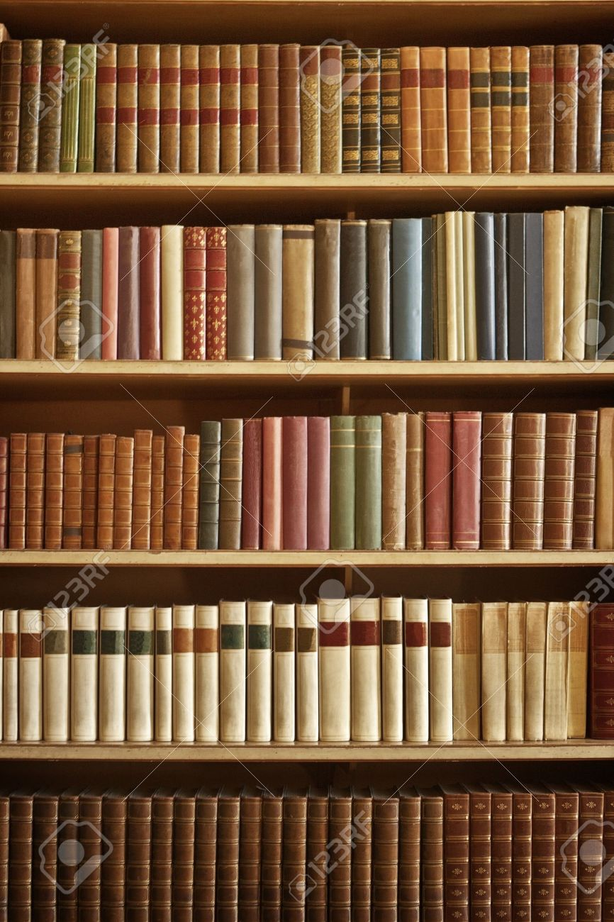 Bookcase With Many Old Books In A Library Stock Photo Picture And - Old book case