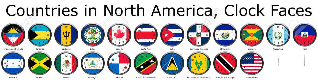 List Of Countries In North America National Flags Set On A - How many countries in north america