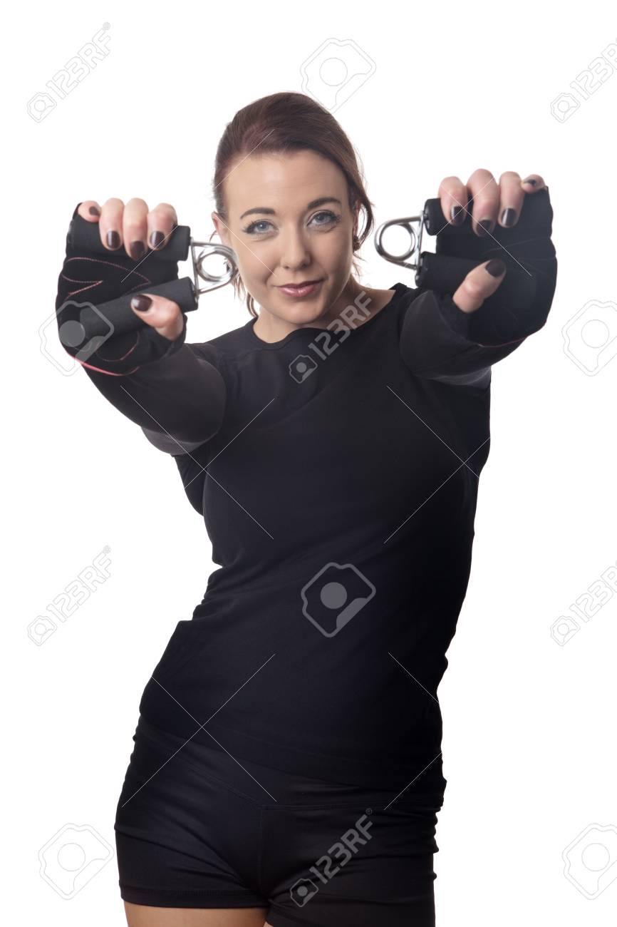 fitness woman doing a hand grip exercise routine - 63669487