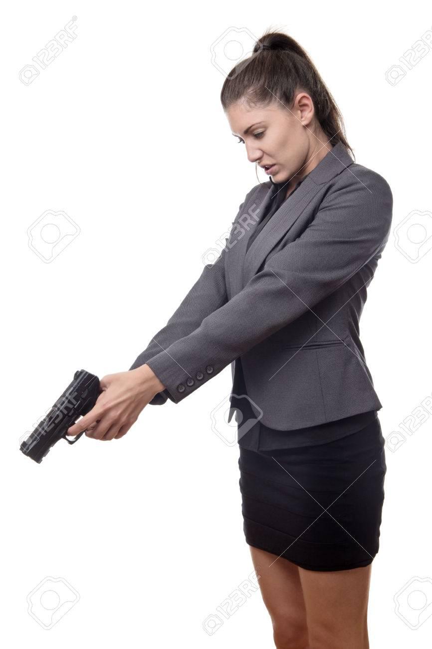 地面に何かで銃を下向きビジネス女性 の写真素材・画像素材 Image ...