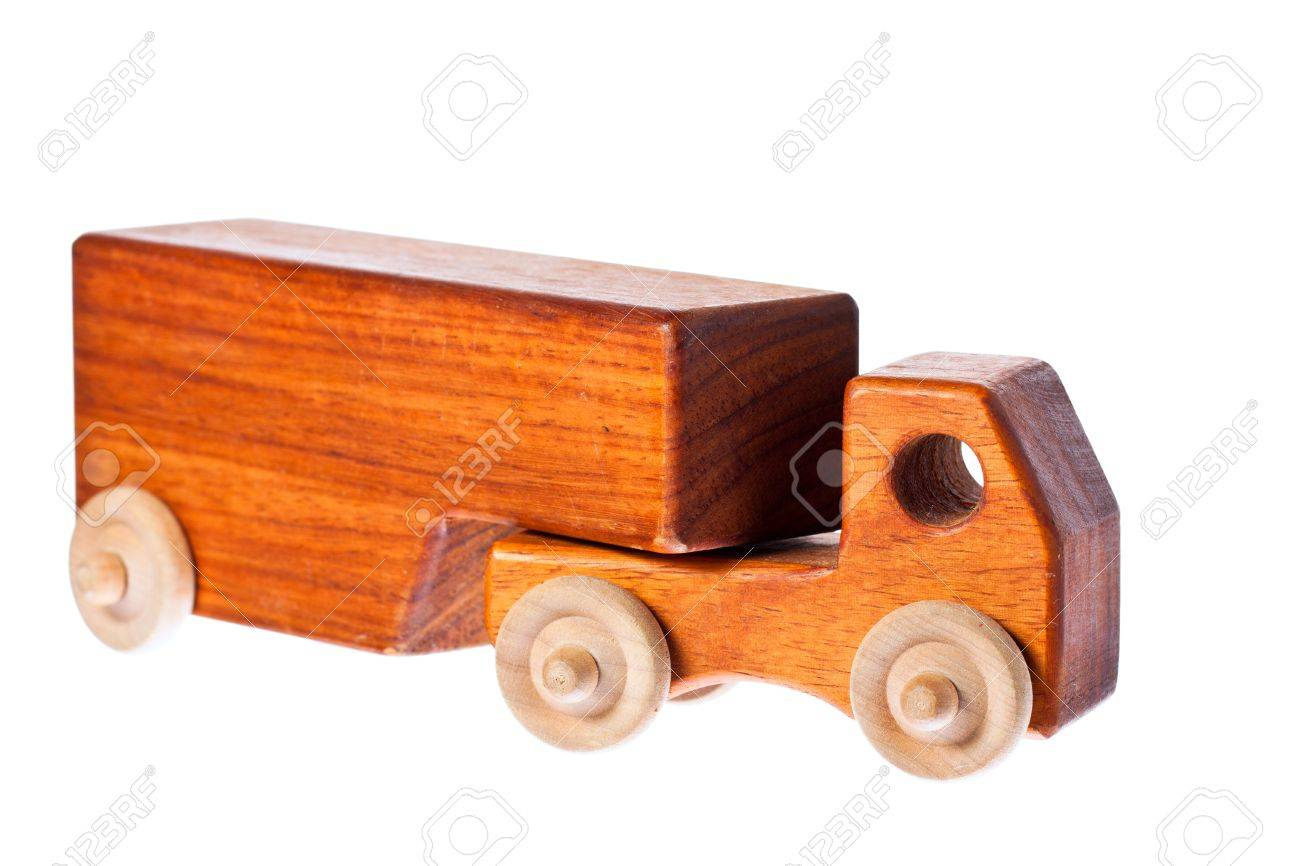 A funky retro wooden truck or semi-trailer. Isolated over white with clipping path. Stock Photo - 8592889