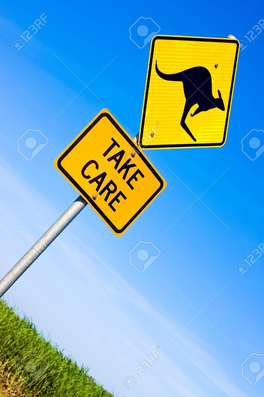 Closeup of kangaroo road warning sign against a blue sky Stock Photo - 9013222