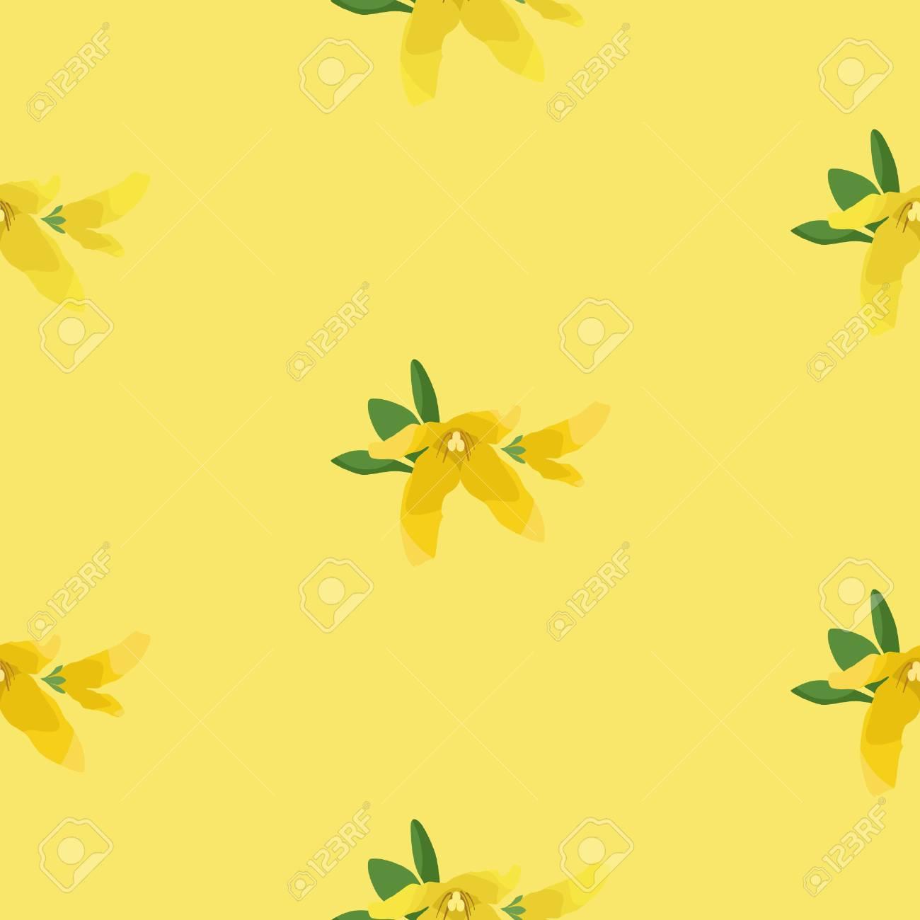 Forsythia blossom seamless pattern vector background. - 96520424