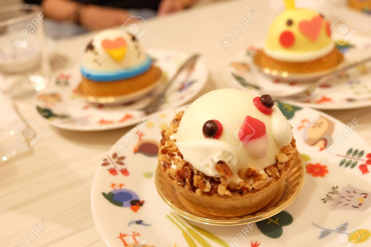 Cute Bird Shape Cake Stock Photo
