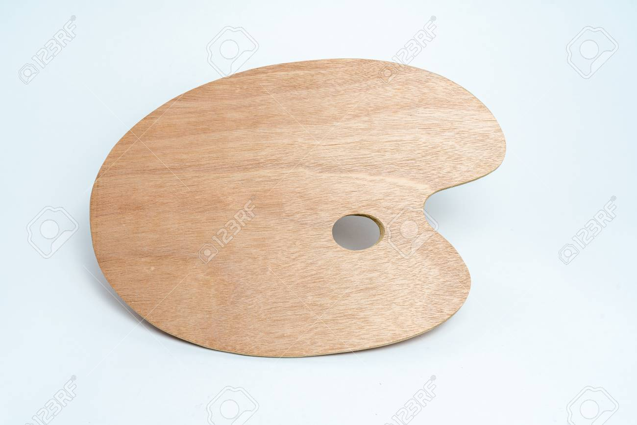 Wooden brown painters palette isolated on white background - 125226036