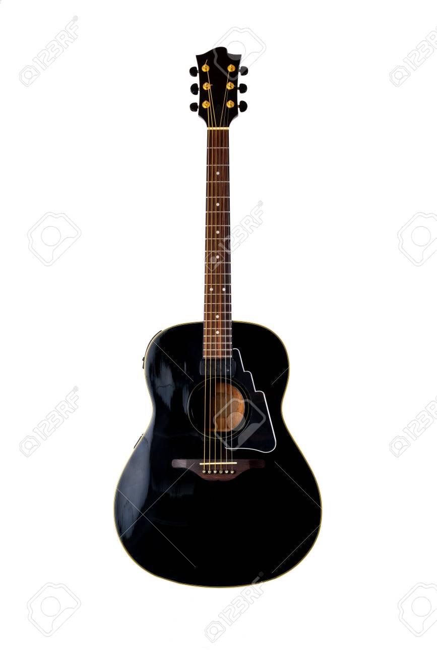 musical instrument wooden six-string guitar red isolated on blackbackground - 125226047