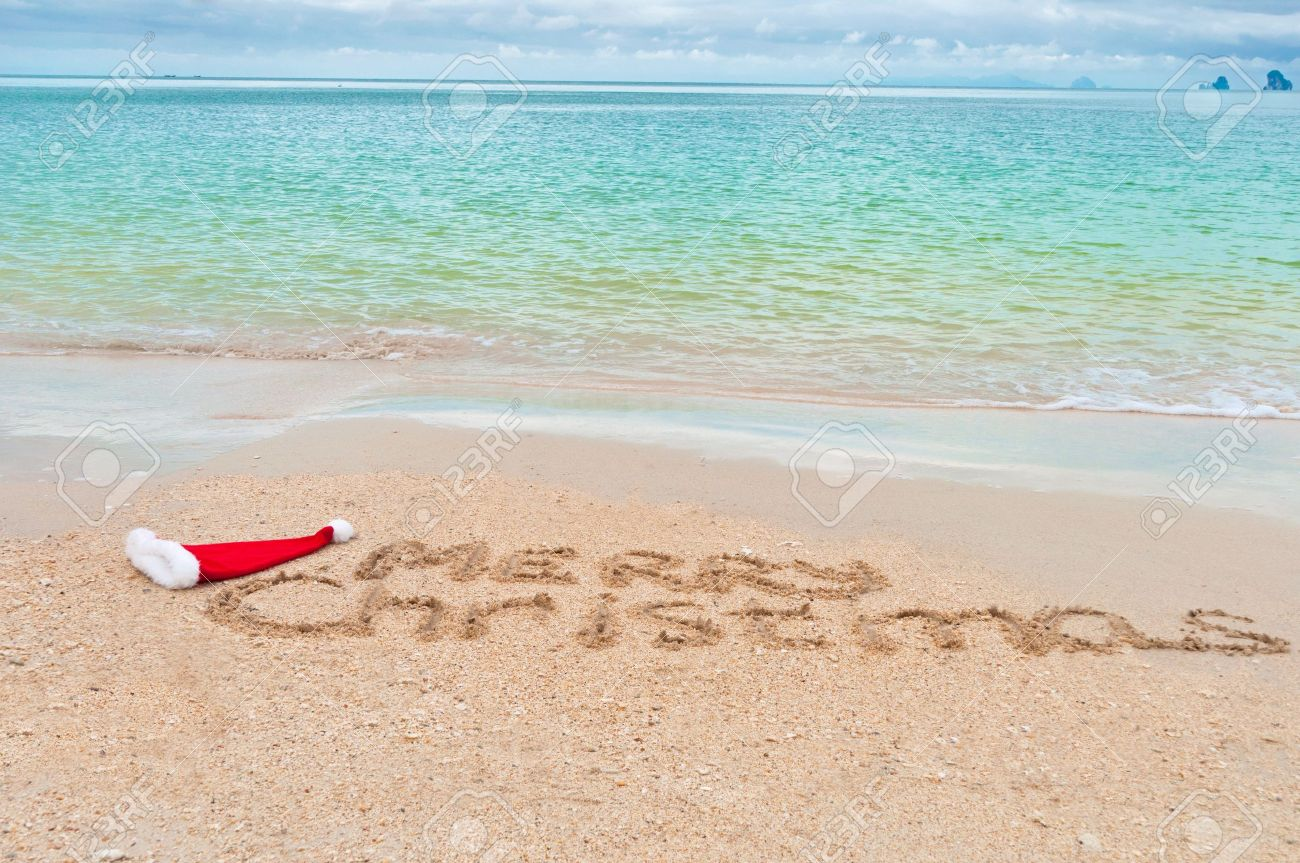 Holiday Background - Merry Christmas Written On Tropical Beach ...