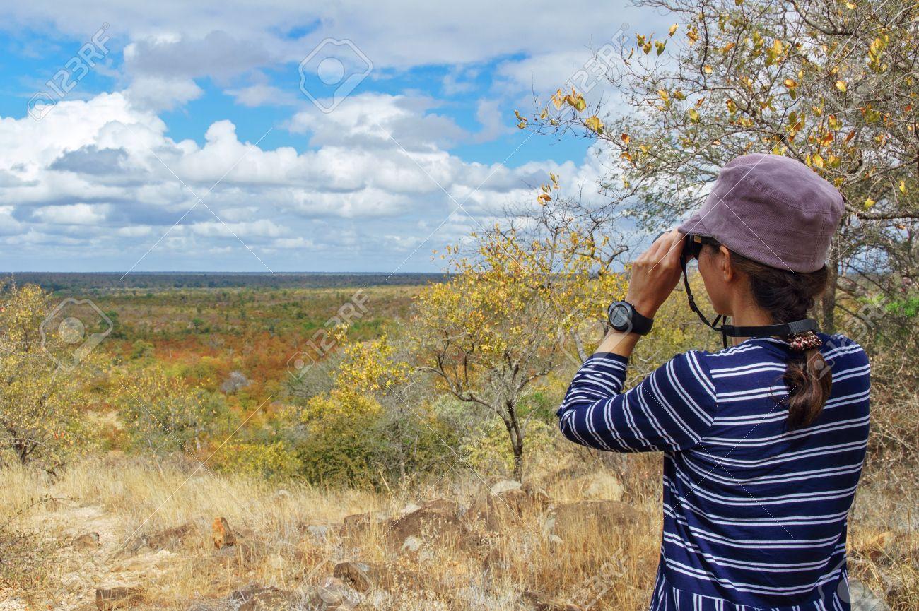 Safari in South Africa, woman tourist with binoculars looking at savannah - 22189012