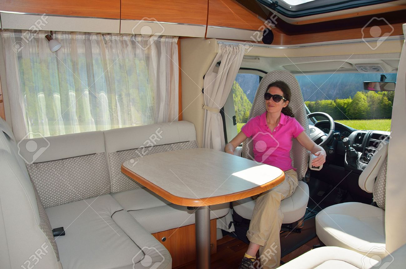 Woman In Camper RV Interior, Family Travel And Vacation Stock Photo ...