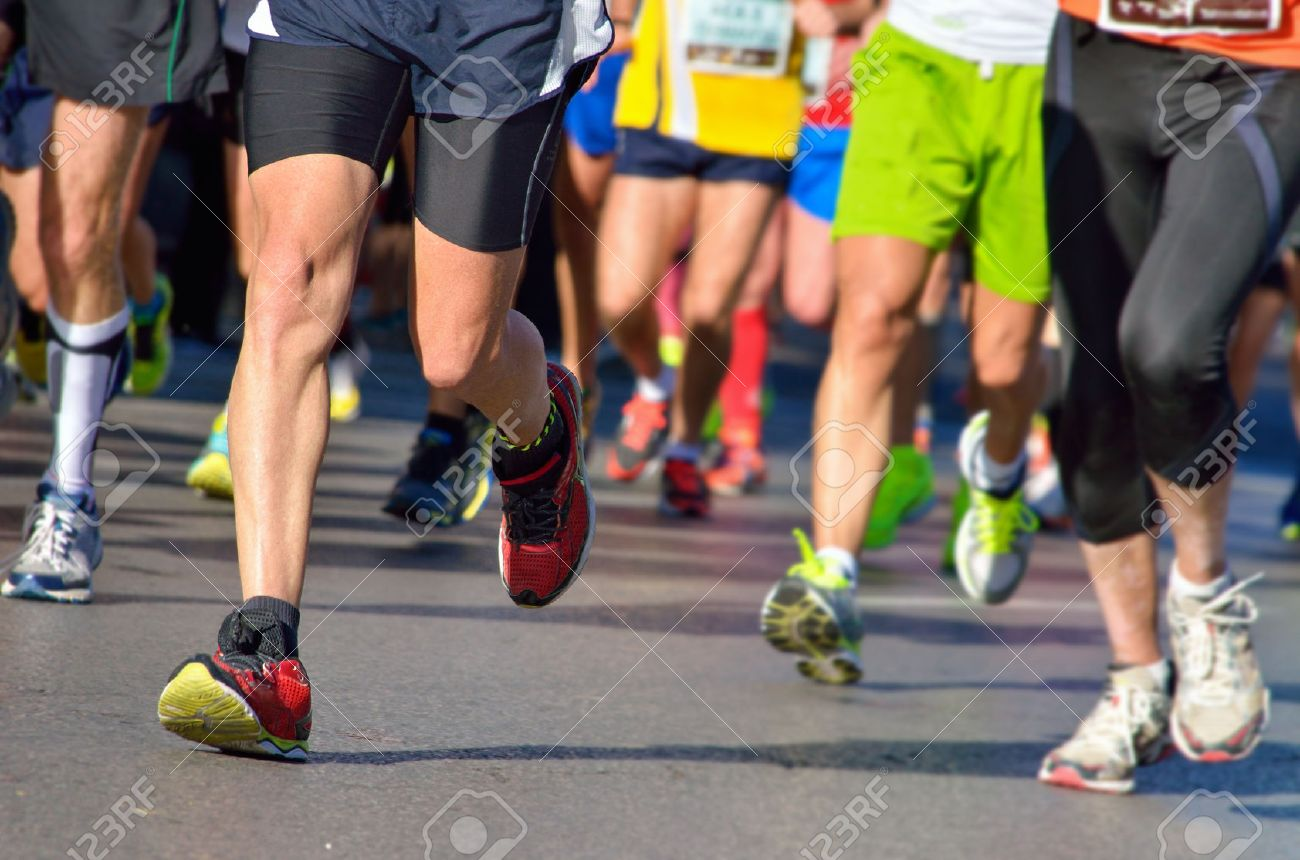 Marathon running race, people feet on road, sport, fitness and healthy lifestyle concept - 35688222
