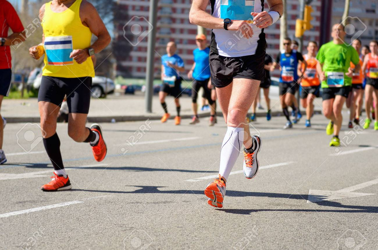 Marathon running race, runners feet on road, sport, fitness and healthy lifestyle concept - 38986265