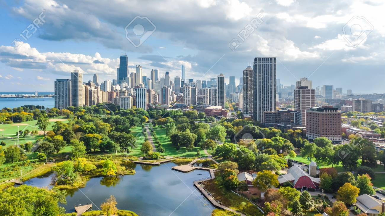 Chicago skyline aerial drone view from above, lake Michigan and city of Chicago downtown skyscrapers cityscape from Lincoln park, Illinois, USA - 111680571