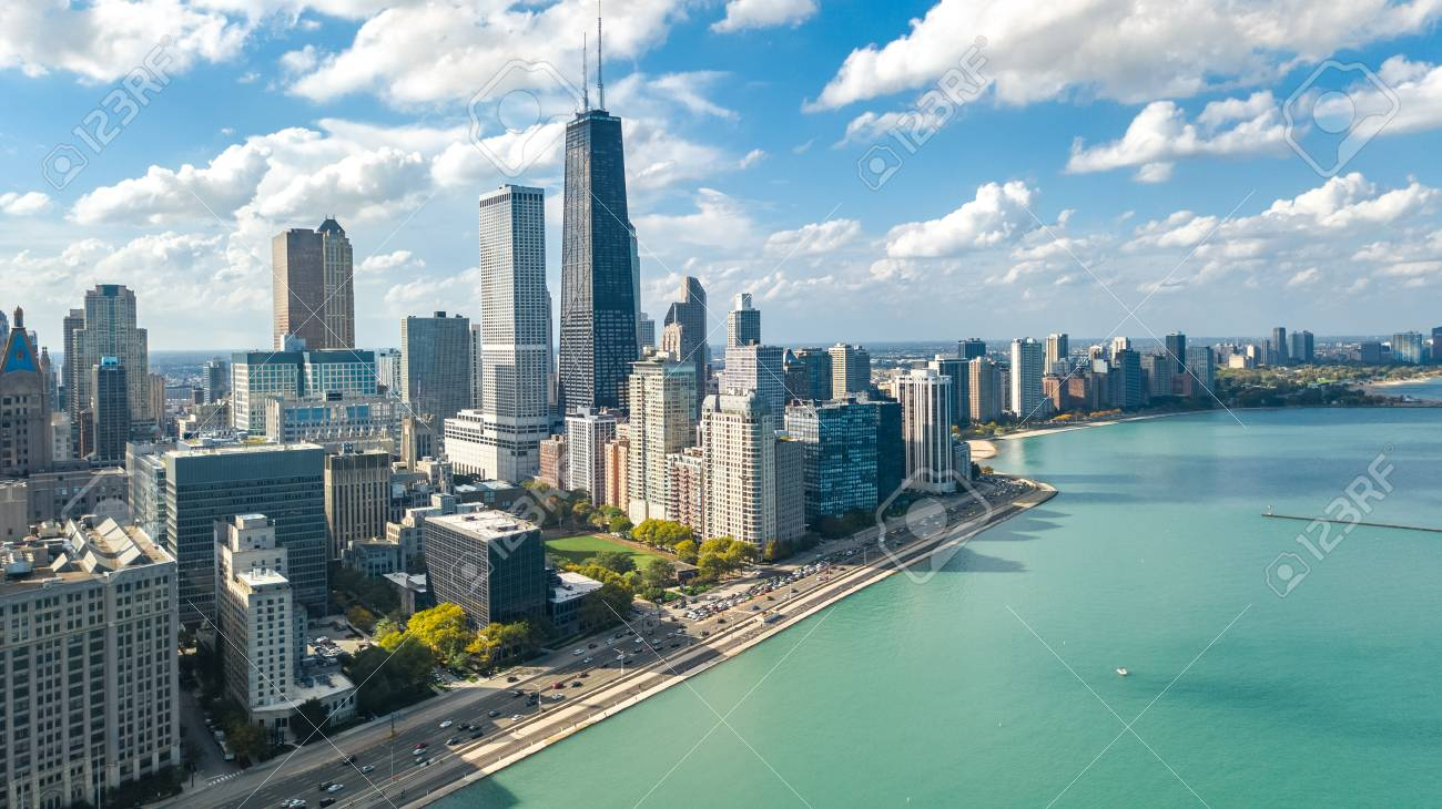 Chicago skyline aerial drone view from above, lake Michigan and