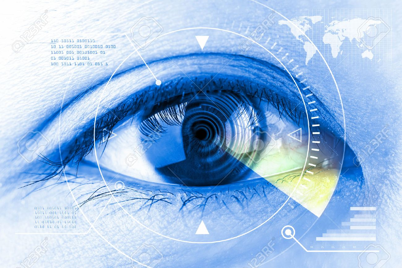 Close up women eye scanning technology in the futuristic. - 47435275