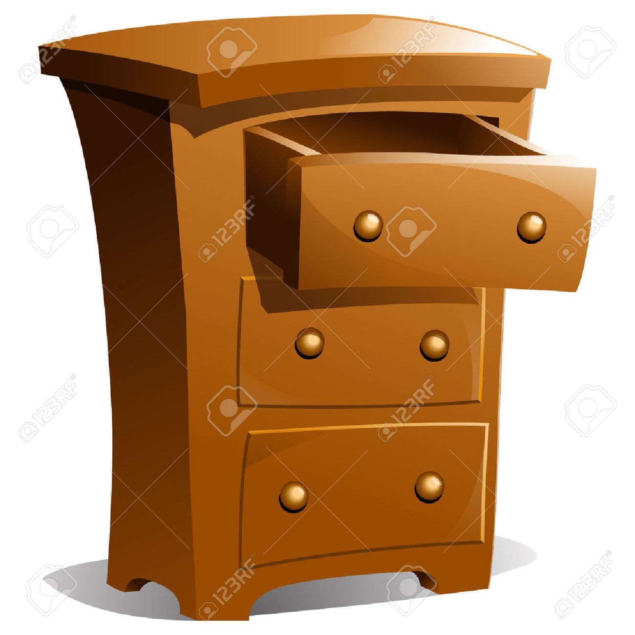 Brown Wood Dresser With Top Drawer Open Stock Vector   7779005