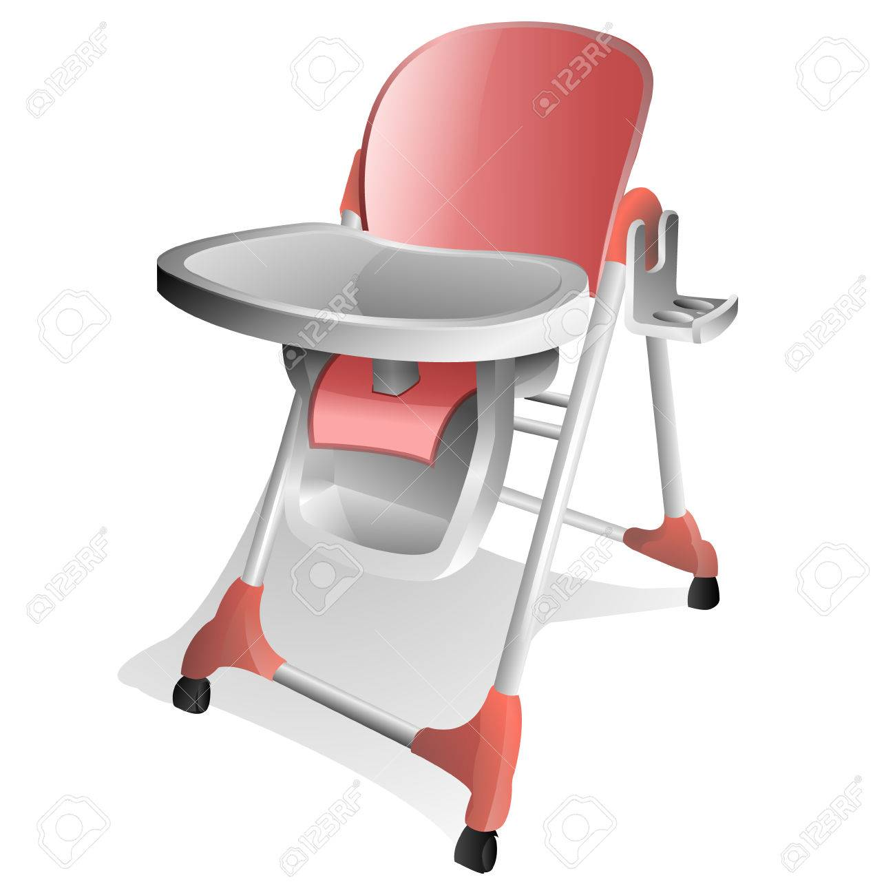 Pink and White Baby High Chair with Tray Stock Vector - 7779006 And With Royalty Free Cliparts