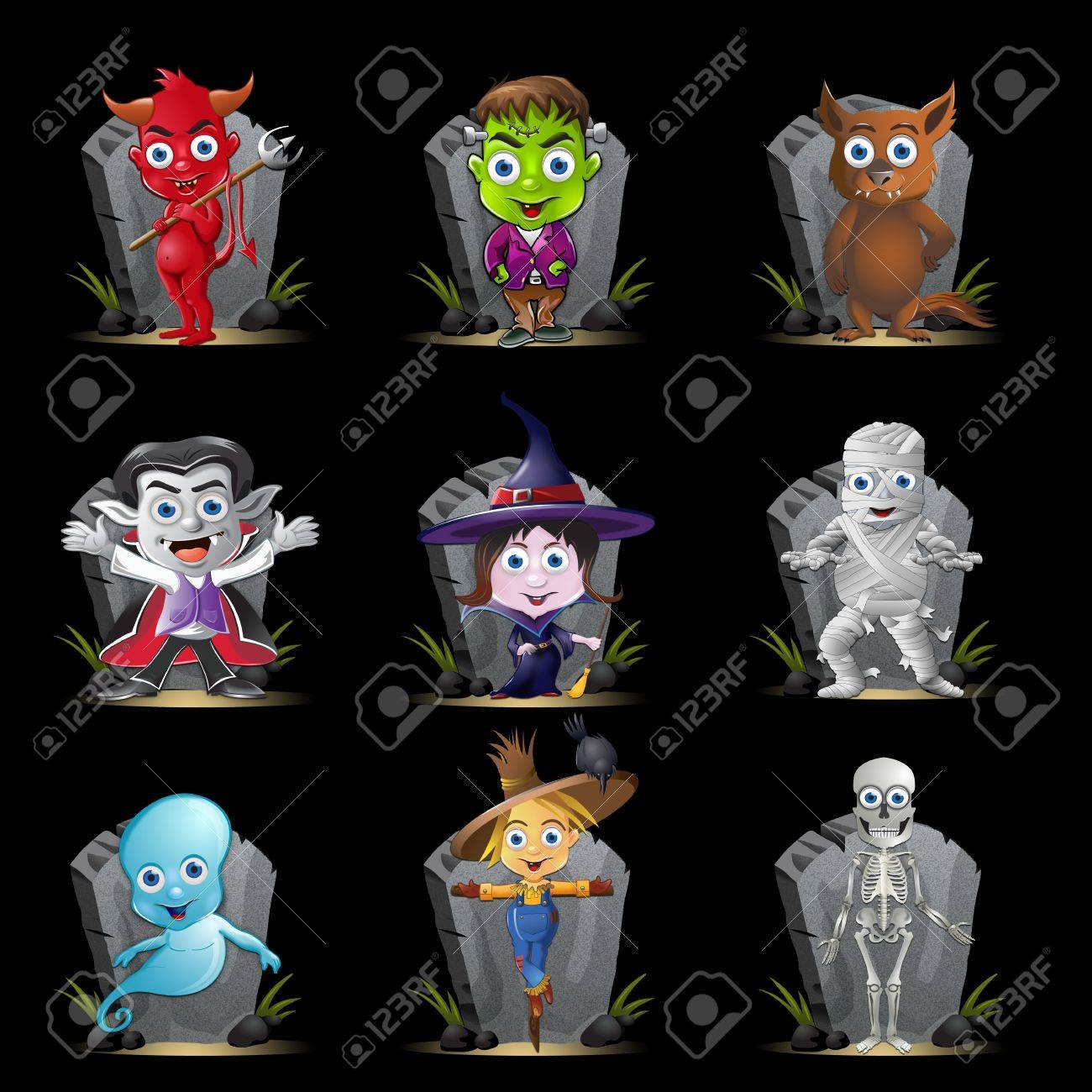 A set of nine Halloween characters n front of a tombstone. Stock Photo - 7925794