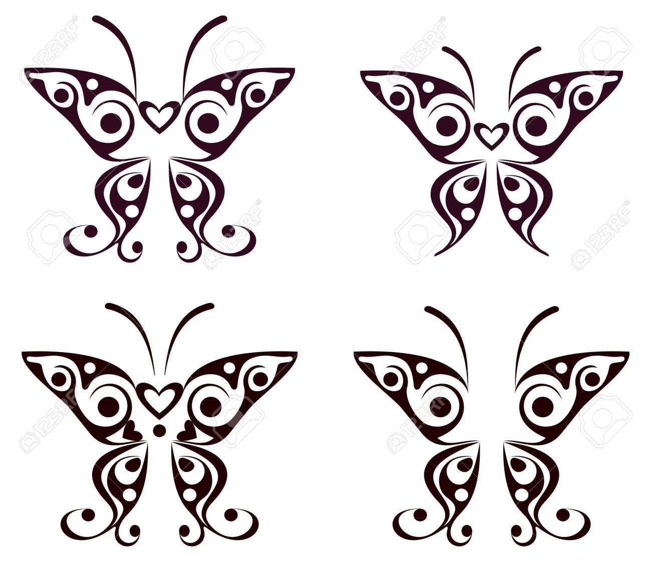641338039d484 Butterfly vector tattoo - design element. Decoration, illustration. Stock  Vector - 5197932