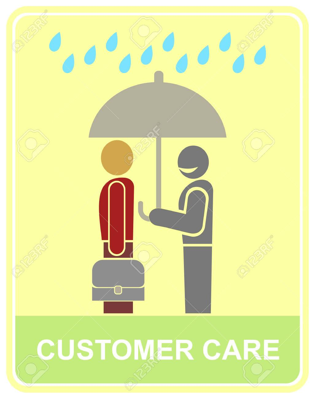 A worker holds an umbrella over the client - customer service icon. Vector stylized color illustration. Stock Vector - 5384203