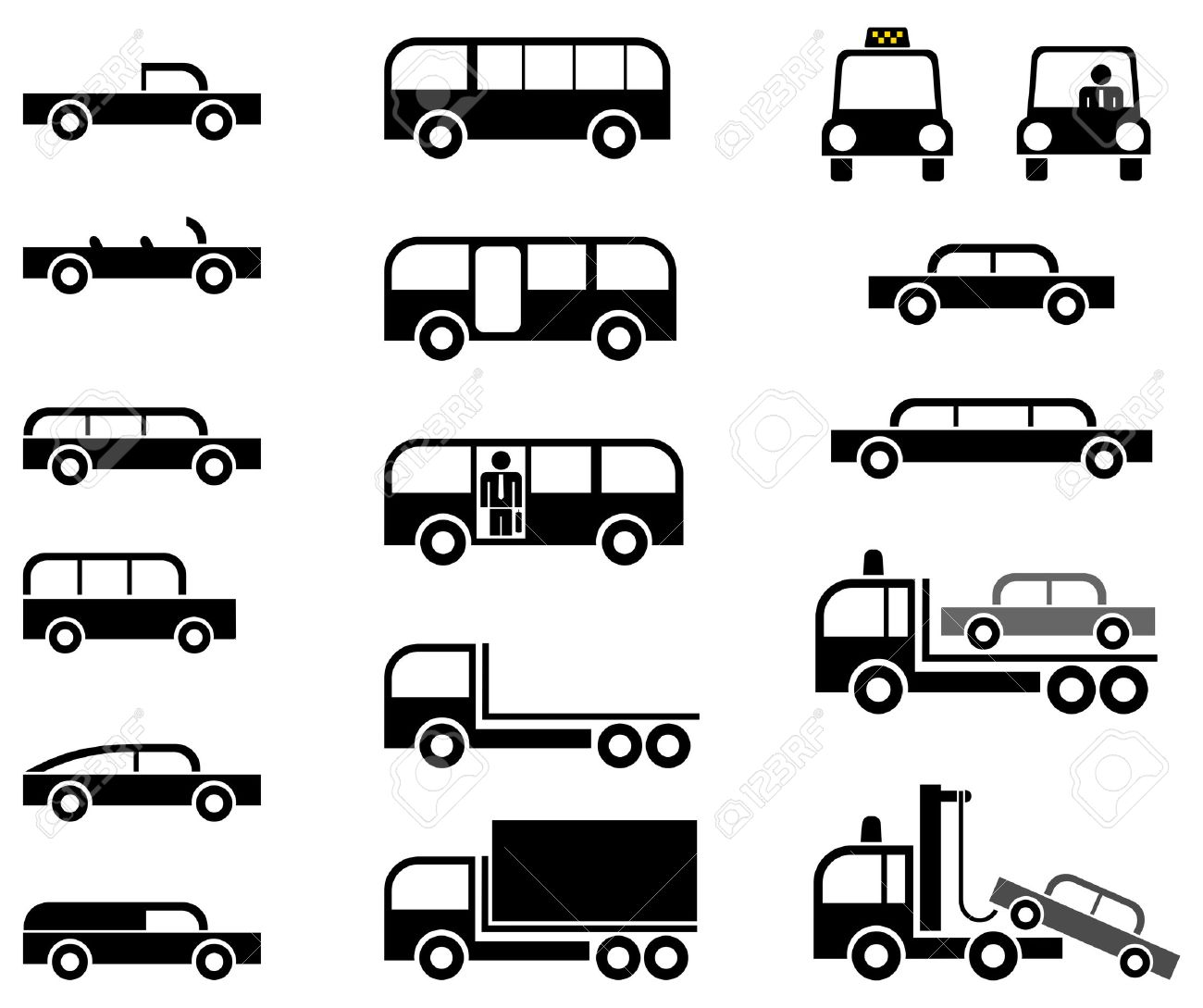 Different types of car body - stylized vector pictograms. Cars, trucks, tow trucks and buses. Stock Vector - 5396270