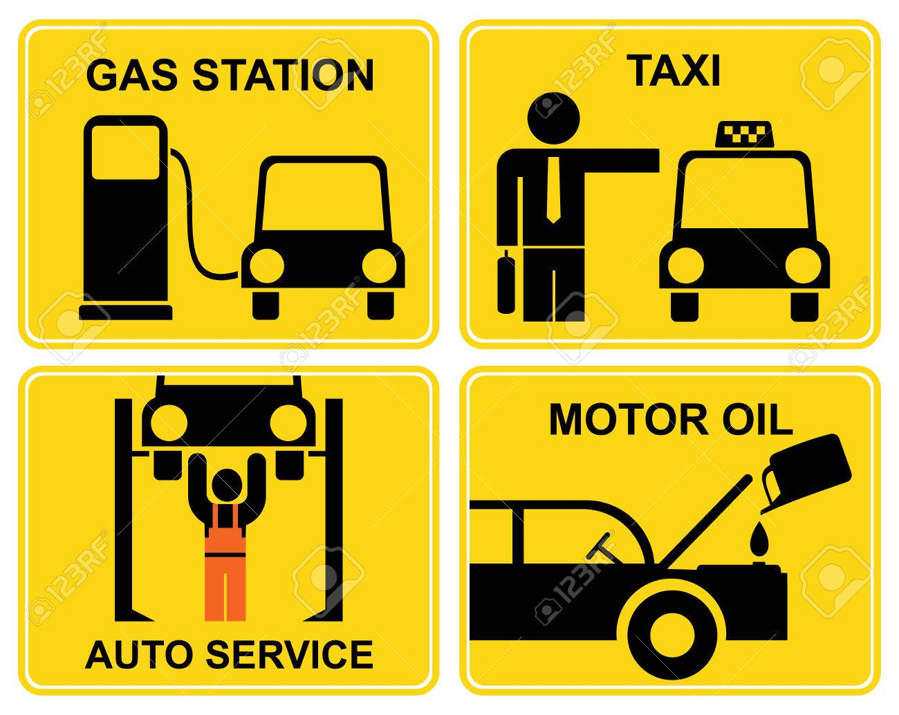 A set of vector signs for car service or fuel station. Yellow and black icons. Stock Vector - 6290638